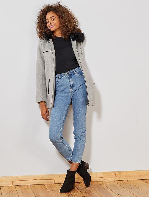 Manteau caban effet laine                                         gris