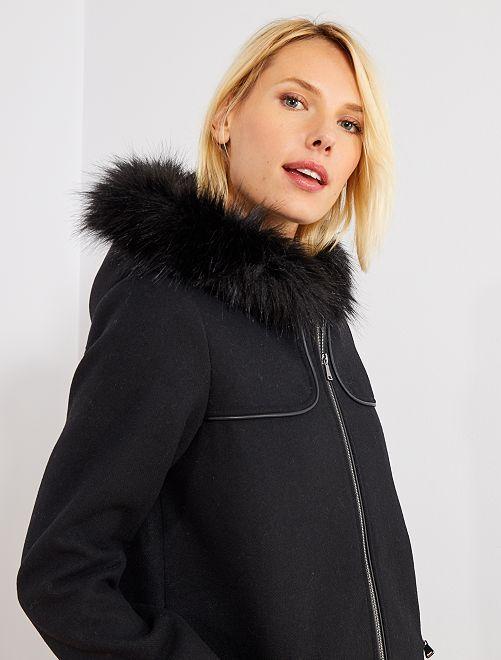 Manteau caban effet laine                             noir