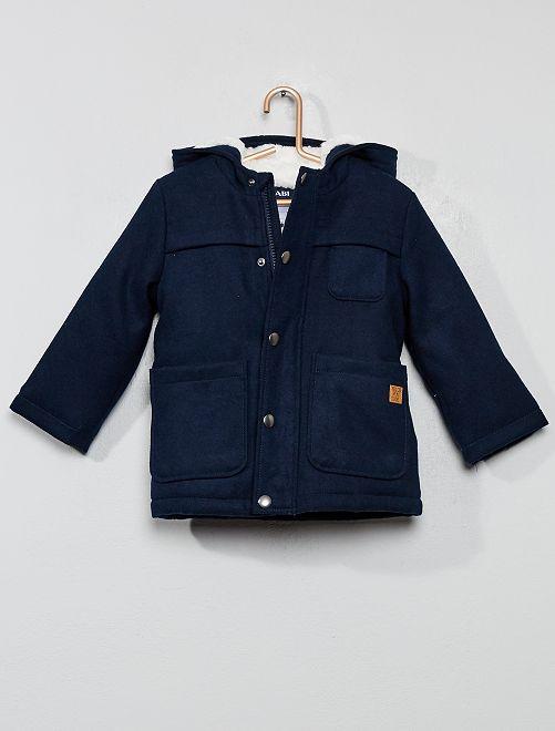 Manteau chaud doublé sherpa                                         bleu marine