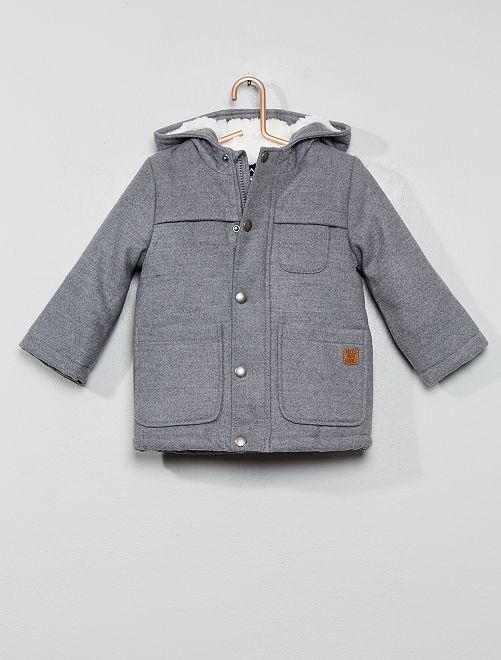 Manteau chaud doublé sherpa                                         gris