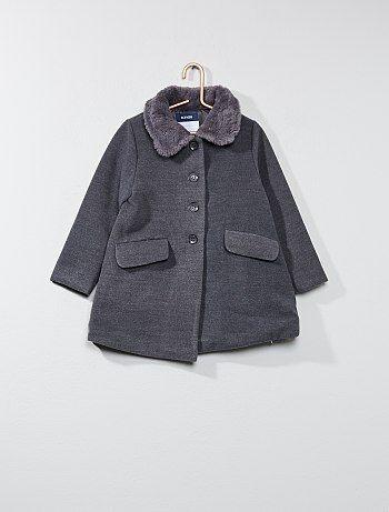 Manteau col fausse fourrure - Kiabi