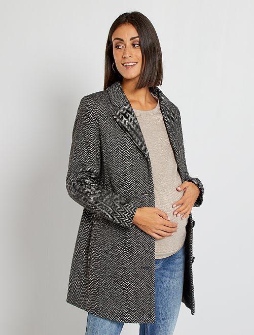 Manteau de maternité en tissu chevronné                             gris