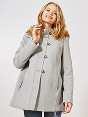 Manteau laine gris long femme