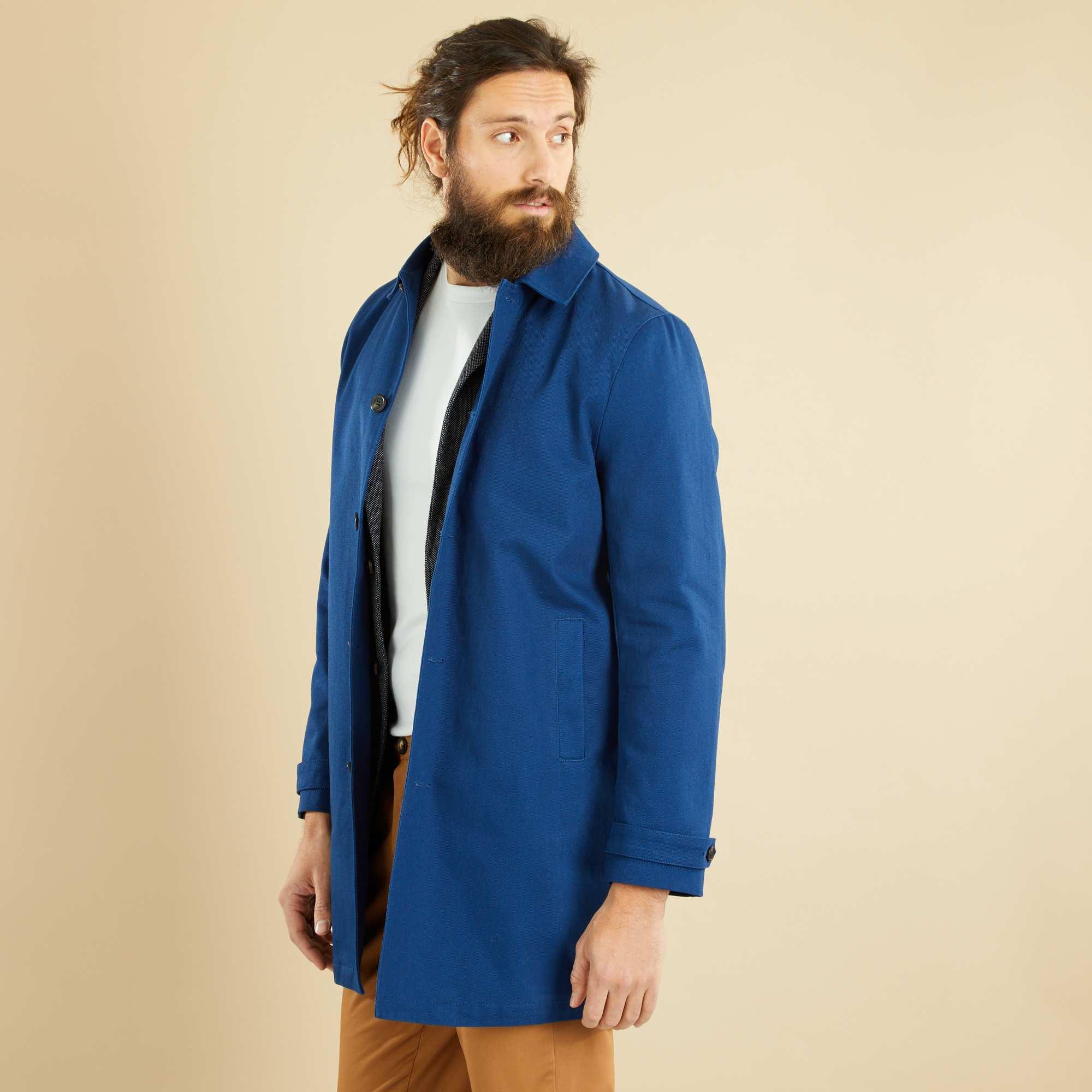Couleur : bleu, , ,, - Taille : XL, , ,,Avec sa coupe droite et son beau twill de coton épais, ce manteau est un indispensable