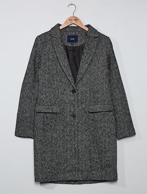 Manteau effet lainage à chevrons                             noir