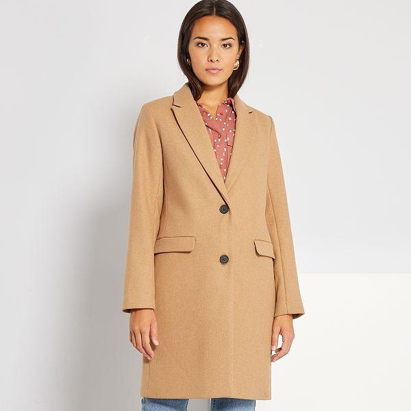 Manteau effet lainage Femme beigecamel Kiabi 40,00€