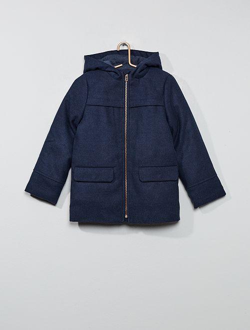 Manteau effet lainage                             bleu foncé
