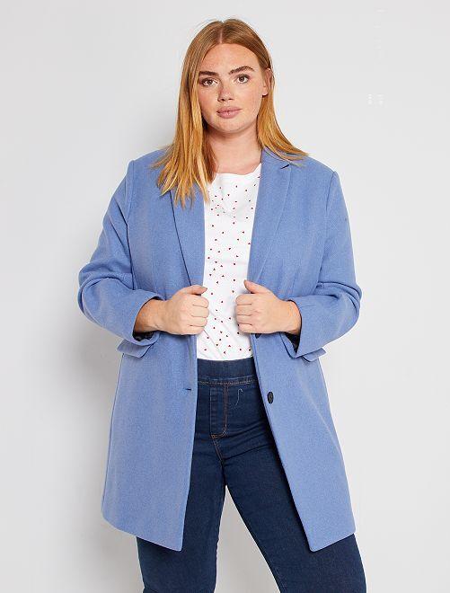 Manteau effet lainage                                 bleu grisé