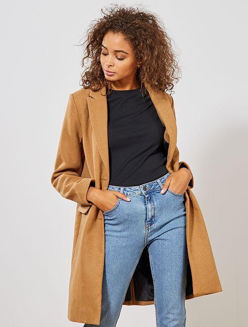 Manteau effet lainage                                                                             camel Femme