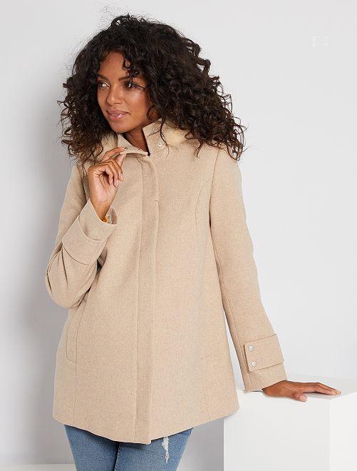 Manteau effet lainage de maternité                             beige