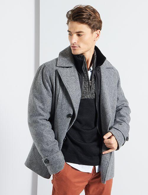 Manteau effet lainage                                         gris/noir