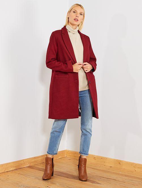 Manteau effet lainage                                                                 rouge bordeaux Femme