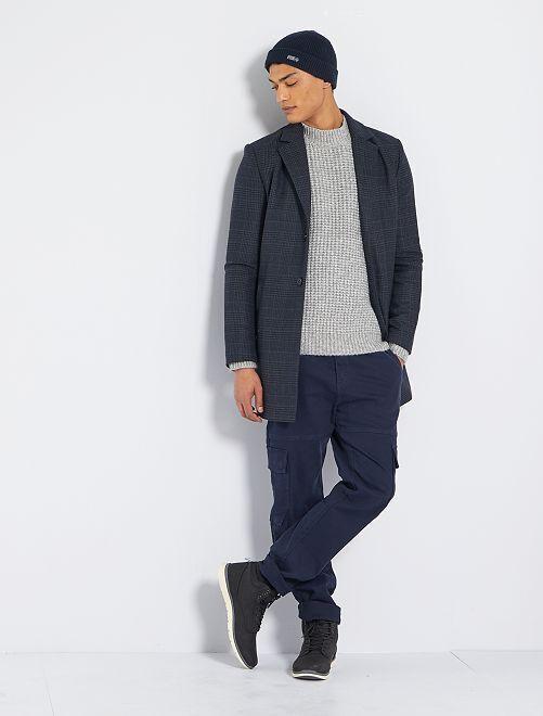 Manteau effet laine à carreaux                             gris/bleu