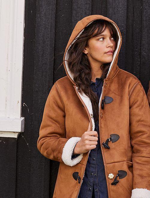 Manteau effet peau lainée                             caramel