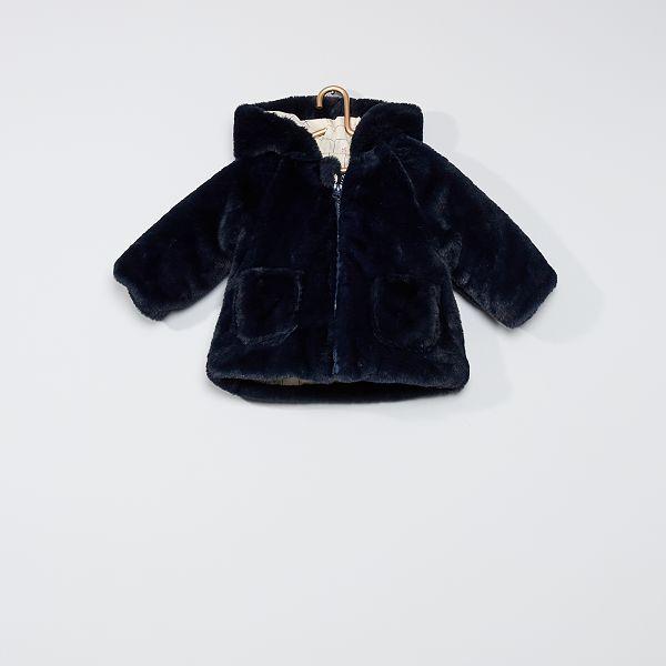 veste en fausse fourrure noire kiabi fille