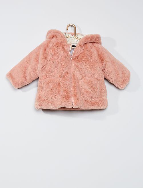 Manteau en fausse fourrure à capuche 'oreilles'                                                     rose