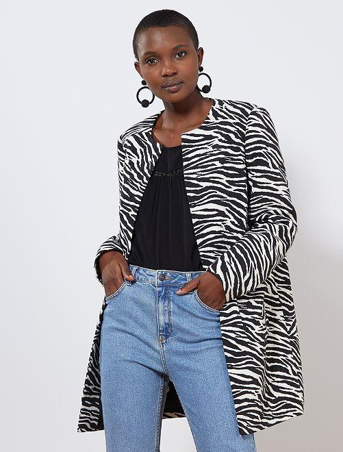 Manteau en jacquard motif 'zèbre'                             noir/blanc