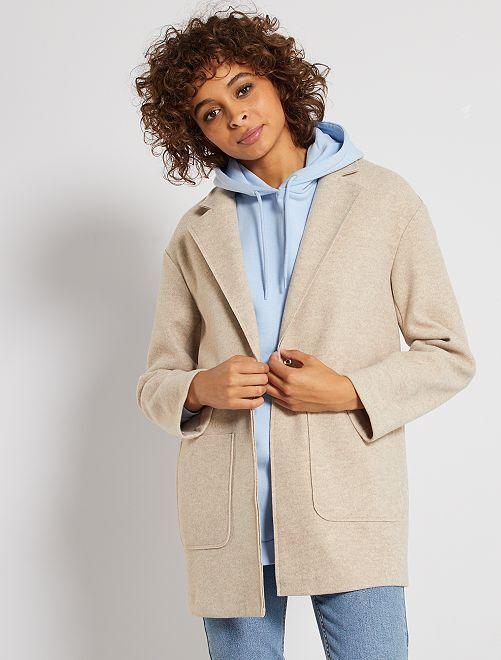 Manteau en maille effet laine                                         beige chiné