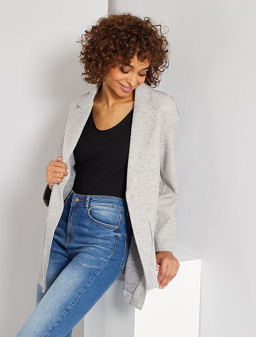 Manteau en maille effet laine                                         gris chiné