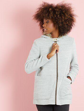 Manteau esprit lainage à capuche