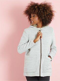 Femme du 34 au 48 Manteau esprit lainage à capuche