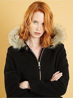 Manteau, veste taille 40 - Manteau esprit lainage à capuche