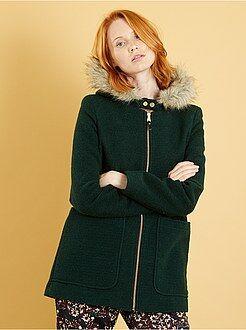 Manteau, veste vert - Manteau esprit lainage à capuche