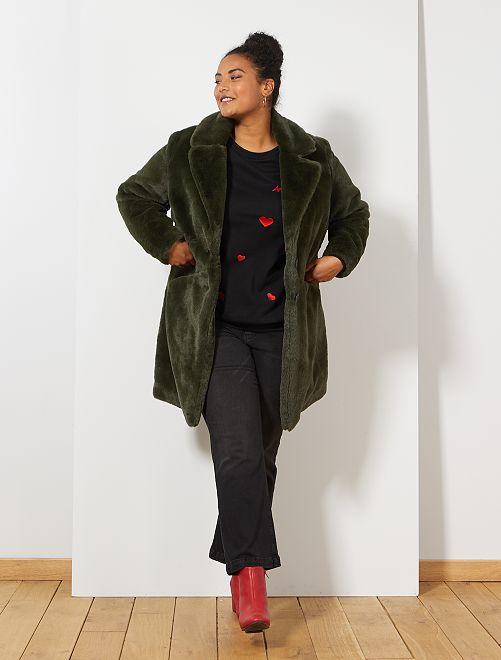 Manteau fausse fourrure                             vert Grande taille femme