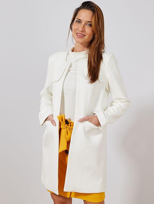 Manteau habillé col rond                                 blanc Femme