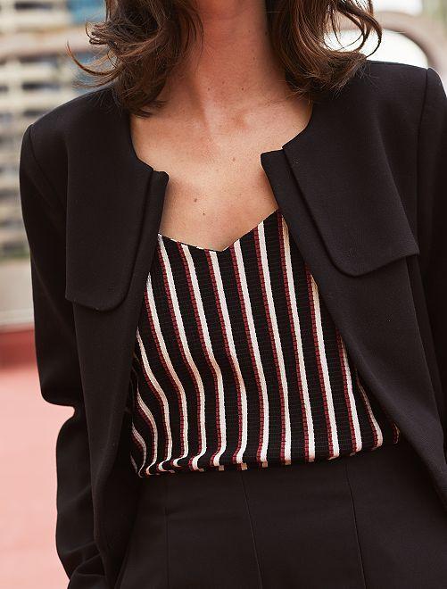 Manteau habillé col rond                                         noir Femme