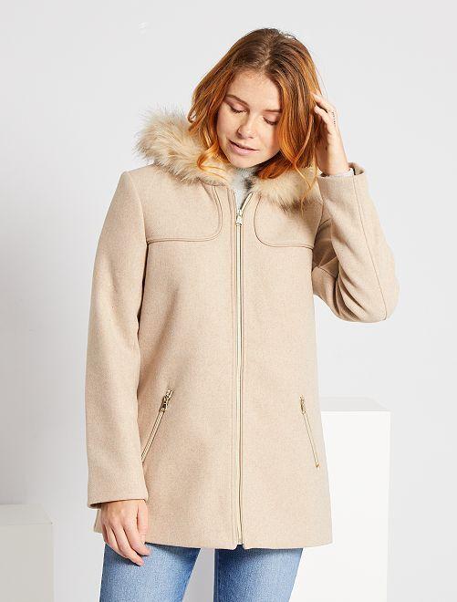 Manteau lainage à capuche                                                                             beige
