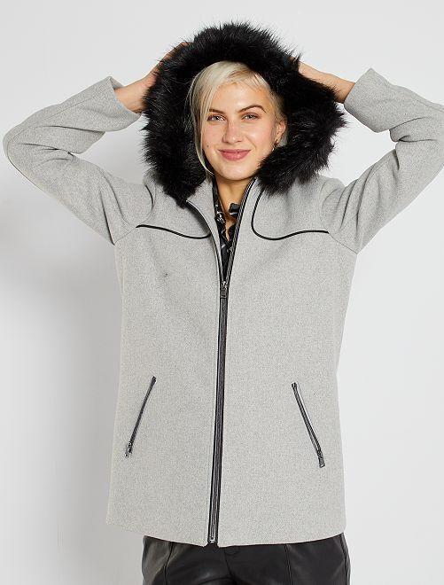 Manteau lainage à capuche                                                                             gris clair