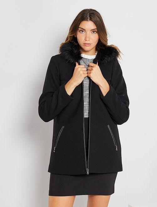 Manteau lainage à capuche                                         noir