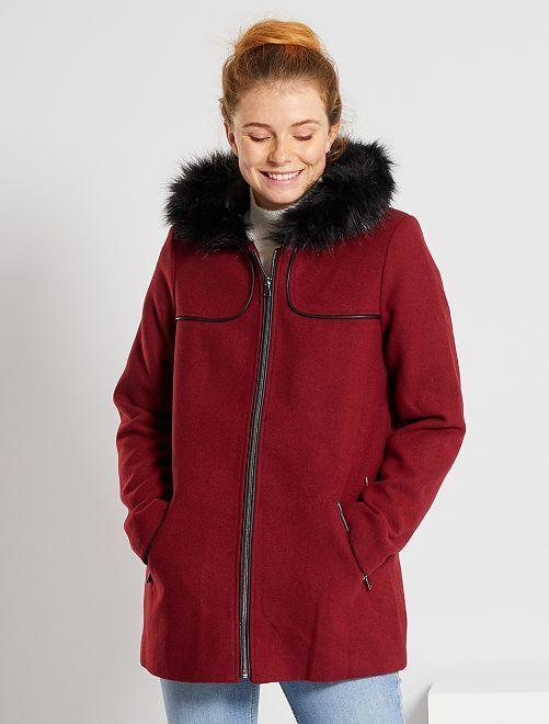 Manteau lainage à capuche                                                                             rouge