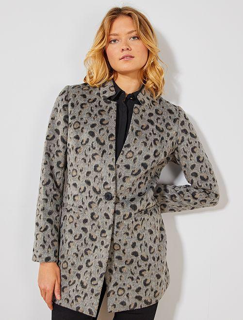 Manteau léopard lainage                             gris
