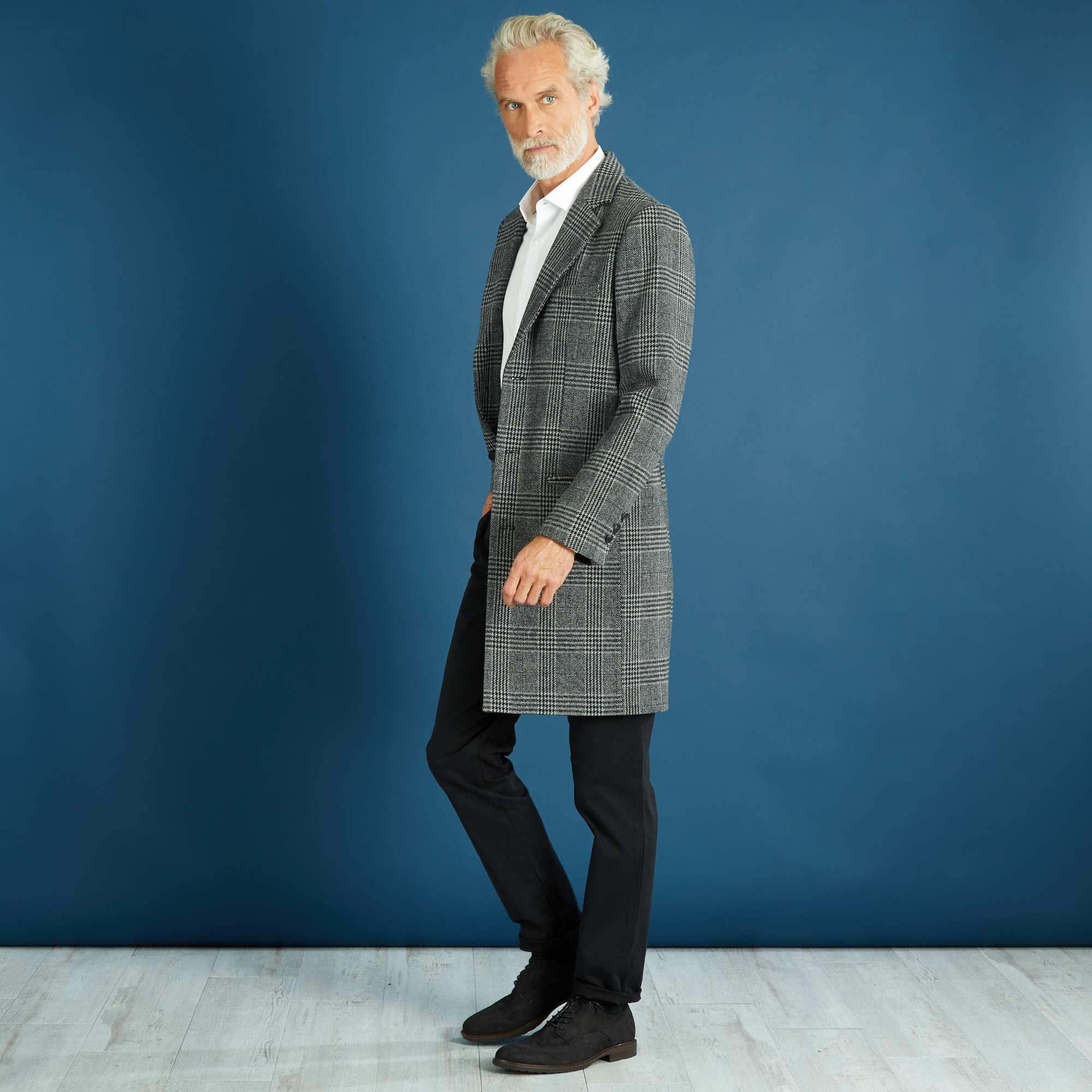 manteau long effet lainage carreaux homme gris noir kiabi 36 00. Black Bedroom Furniture Sets. Home Design Ideas