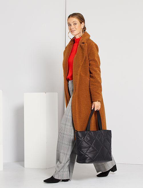 Manteau long effet sherpa                                         marron