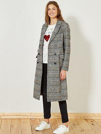 Manteau trois quart femme gris