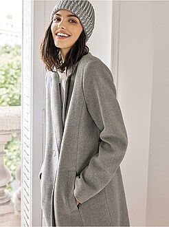 Manteau long tissu lainé