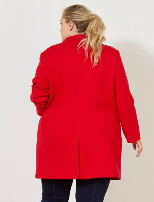 Manteau mi-long coupe droite Grande taille femme - rouge - Kiabi - 30,00€