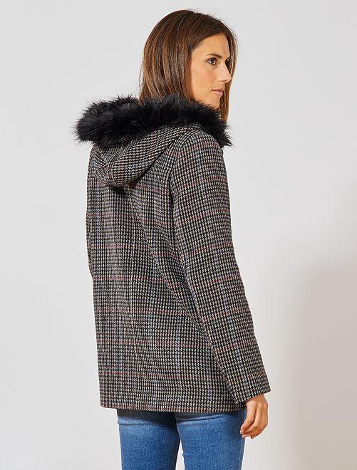 Manteau motif pied de poule                             gris