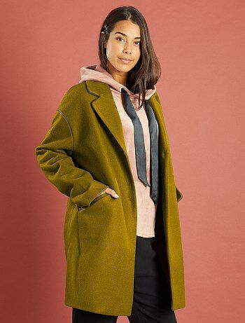 manteau oversize avec laine femme kaki kiabi 22 50. Black Bedroom Furniture Sets. Home Design Ideas