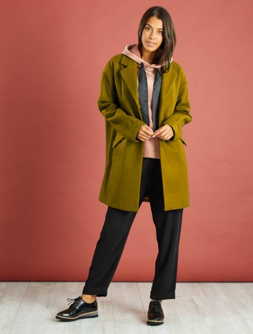 Manteau oversize avec laine kaki Femme