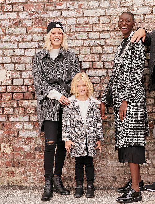 Manteau style babydoll                                         carreaux noir
