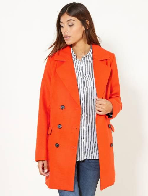 Manteau style caban                                                     orange Femme