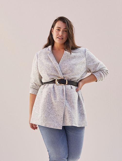 Manteau style drap de laine                             gris chiné