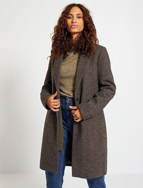 Manteau style lainage 'pied de poule'                             marron