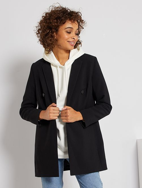 Manteau veste boutonnage croisé                                         noir