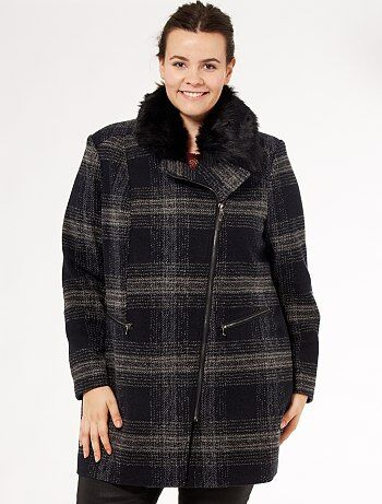 manteau zipp col fausse fourrure grande taille femme kiabi 40 00. Black Bedroom Furniture Sets. Home Design Ideas