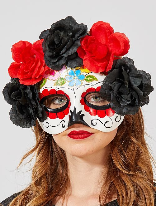 Masque 'Dia de Muertos'                             blanc/rouge/noir